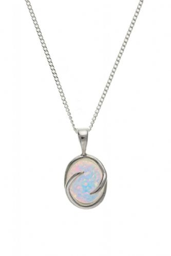 Sterling Silver Opal Oval Necklace With Swirl Edging